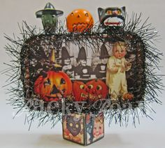Black Cats and Witches and Pumpkins, oh my! Altered Tin - MISCELLANEOUS TOPICS - I'm pretty sure they're sick of seeing all my work on the Papercraft board, so I thought I'd come over here and bug you on the Misc. Halloween Items, Halloween Projects, Spooky Halloween, Vintage Halloween, Happy Halloween, Halloween Decorations, Spooky Spooky, Halloween Lanterns, Halloween Ornaments