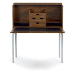 Konstantin Grcic, Orcus Desk Pearwood veneer, Writing-pad folds down, four drawers, six shelves and a secret compartment. Frame of matte chromium-plated steel tubing. Writing surface of black leather. Allowances for electic cables Manufacturer Classicon