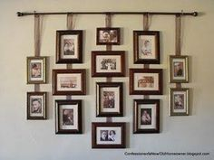 Hanging pictures from curtain rod with ribbon by flora