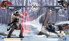 SENSACIONAL ilustração do que seria um jogo de luta com personagens de Game of Thrones!  http://dynamaito.deviantart.com/