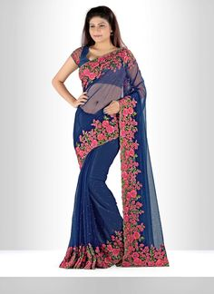 Style and pattern would be at the peak of your elegance when you attire this net designer saree. Beautified with diamond work, embroidered, patch border work and resham work all synchronized nicely wi...