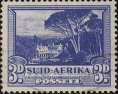 Stamp: Groote Schuur, the residence of Cecil Rhodes (South Africa) (Pictorials - Hyphenated) Mi:ZA 59 (A),SAC:ZA 59 (A) Union Of South Africa, Science And Nature, Postage Stamps, Old And New, Landscape Photography, Paper Art, Poster, African Animals, Rhodes