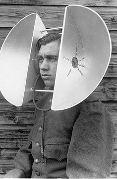 Head-mounted listening device: World War II acoustic devices for hearing incoming planes in the distance.
