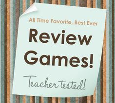 Best Ever Games to Review in Any Content Area! Many of these games incorporate movement, so the amp up the fun and learning!