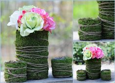 fill clear cylinder with moss and battery light strand inside with twine wrapped around outside of vase. Deco Floral, Arte Floral, Floral Design, Floral Centerpieces, Wedding Centerpieces, Wedding Decorations, Flower Vases, Flower Art, Flower Arrangements