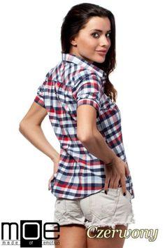 Nowoczesna koszula w kratę z krótkim rękawem marki MOE.  #cudmoda #moda #styl #ubrania #odzież #clothes