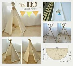 Bildergebnis für como hacer un teepee para niños Diy Teepee, Teepee Tent, Teepees, Tp Tent, A Frame Tent, Party Set, Kids And Parenting, Diy For Kids, Kids Bedroom