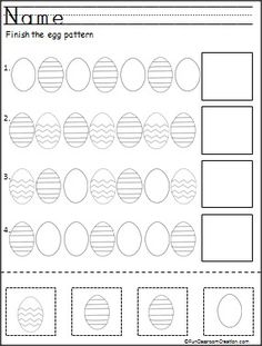 TEACHING STRATEGIES - Finish the Easter egg patterns. This is a free color, cut, and paste pattern worksheet for Kindergarten. Pattern Worksheets For Kindergarten, Math Addition Worksheets, Easter Worksheets, Easter Activities, Preschool Worksheets, Free Worksheets, Holiday Activities, Printable Worksheets, Printables