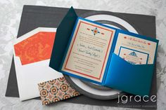 vibrant custom wedding invitation inspired by Spanish tiles and design by j grace