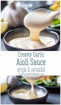 Easy Aioli Recipe (All-i-oli/Alioli): Traditional vs. Modern - Make the perfect accompaniment to fish, rice dishes, or anything that could benefit from a creamy, g - Garlic Aoli Recipe, Aoili Recipe, Creamy Garlic Sauce, Garlic Recipes, Lemon Garlic Aioli, Garlic Mayo, Garlic Dip, Garlic Sauce For Steak, Gluten Free Foods