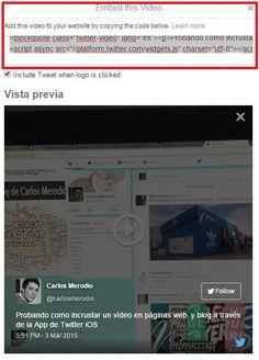 Cómo incrustar vídeos en webs y blogs con la funcionalidad de grabación de Twitter en sus App iOS y Android