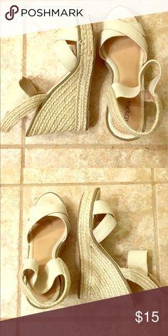 EUC Merona Wedge Sandals Beige Wedge Sandals. Size 8.5 EUC. Merona Shoes Espadrilles