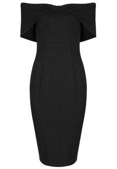 Cette petite robe noire va vite trouver sa place dans votre dressing : coupe crayon très près du corps, col Bardot intemporel et jupe mi longue parfaitement rétro, cette robe classe noire est l'accessoire de prêt-à-porter féminin le plus chic du moment.