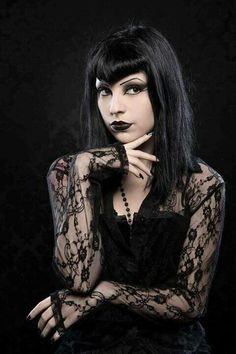 #Goth girl with lace sleeves and Vampire bangs