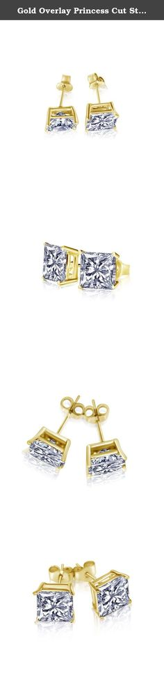 Gold Overlay Princess Cut Stud Unisex Earrings CZ 925 Sterling Silver Cubic Zirconia 1 CT. 1 Carat Beautifully crafted of Sterling Silver with Gold overlay, these CZ stud earrings are set with sparkling square Princess Cubic Zirconia Diamonds. Timeless and elegant unisex style studs.