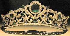 The beautiful emerald and diamond tiara of the Empress Eugenie of France, the last reigning  queen of that country