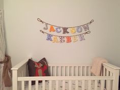 Customized name letters boys room fabric by LittleFairyCottage