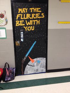 Star Wars Snowman Door for a 4th grade classroom.  I looked at my Darth Vader bag while grabbing door paper and changed my mind about that plain ol' snowman.