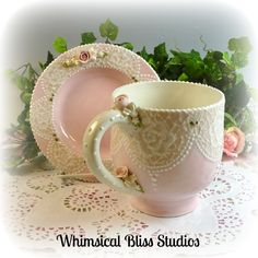 Demure Lace Berry Mug with Saucer #513101-1