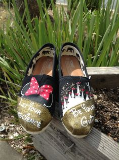 I like the castle but not the be your guide part...pinning this to contact this person...Hand Painted Disney Toms by www.Facebook.com/KicksByClutch