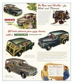 Classic Morris Minor Traveller poster reproduced from the original 1953 brochure Morris Minor, Vintage Ads, Vintage Advertisements, Vintage Cameras, Morris Traveller, Morris Oxford, Austin Cars, Automobile, Ford Classic Cars