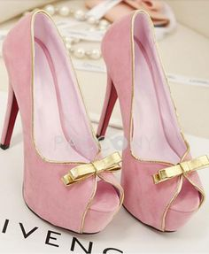 Sweet Pink Suede Bowknot Stiletto High Heel Platform Pumps