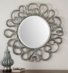 """Uttermost Aeneas Round Silver Mirror  39"""" x 39"""" grey wash  MASTER BDRM"""