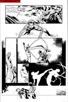 Kwan Chang :: For Sale Artwork :: The Amazing Spider-Man by artist Olivier Coipel Comic Book Layout, Comic Book Pages, Comic Book Artists, Comic Artist, Comic Books Art, Bd Comics, Manga Comics, Storyboard, Western Comics