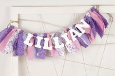 Purple Pink and White Name Banner for Girl's by DuryeaPlaceDesigns, $22.00