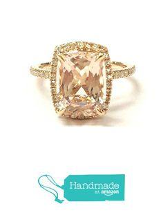 Cushion Morganite Engagement Ring Pave Diamond Wedding 14K Rose Gold 7x9mm from the Lord of Gem Rings https://www.amazon.com/dp/B01H449P9Q/ref=hnd_sw_r_pi_dp_EPGyxb9RZEZYP #handmadeatamazon