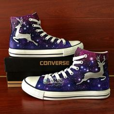 Hand painted deer with beautiful color and stars on high top converse shoes.Gifts for women and girls.