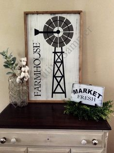 This Farmhouse sign with Windmill is a good size of making it a nice piece to sit on a mantle or hang over a buffet. It is done on farmhouse white with accent colors of gray and black. A must have for your shabby chic farmhouse decor look. Shabby Chic Farmhouse, Shabby Chic Decor, Farmhouse Decor, Farmhouse Style, Farmhouse Signs, Windmill Wall Decor, Windmill Decor, Porch Signs, Wall Colors
