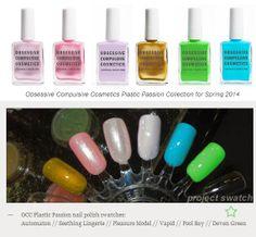 Spring 2014 Plastic Passion nail polish colours! OCCmakeup.com now online at Sephora!!! http://www.sephora.com/product/productDetail.jsp?keyword=deven+green&skuId=1601624&productId=P377412&_requestid=121716