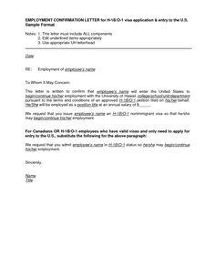 Employment Letter Visa Application Usa Visitor Visa Sample ...