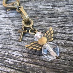 Guardian Angel Purse Charm, Crystal Gemstone Angel, Bag Charm, Gift for a Friend, Get Well Gift, by adiencrafts, £4.95