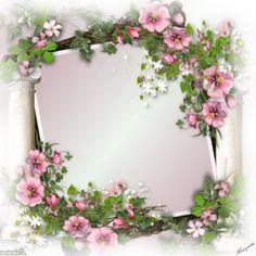 Untouch Beauty Decoupage Art, Decoupage Vintage, Picture Borders, Foto Frame, Wafer Paper Flowers, Creative Flower Arrangements, Powerpoint Background Design, Birthday Frames, Pretty Backgrounds