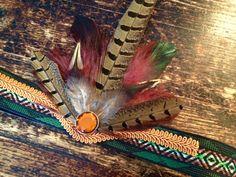 Bohemian Green and orange toned Headband with Feathers and glass set rhinestone, Tribal, Native American, Headdress, Boho by byRK on Etsy https://www.etsy.com/listing/226339381/bohemian-green-and-orange-toned-headband