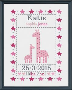 cross stitch baby birth sampler birth announcement by Happinesst