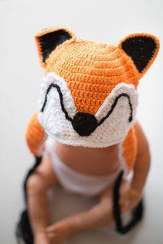 Crcochet Fox Hat, Crochet newborn hat, Photography Prop