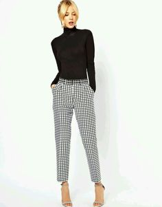 ASOS checkered tapered pants matched with a basic black turtleneck.