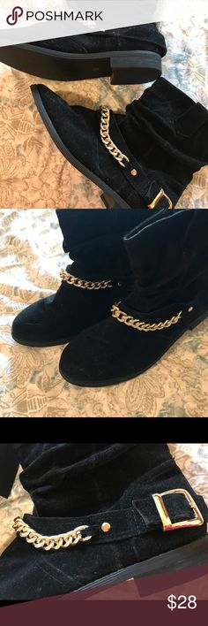 Black and Gold Faux Suede Ankle Booties Super cute and comfy black ankle boots with an edgy gold chain and buckle detail. Worn only a few times, in great condition! A.X.N.Y. American Exchange Shoes Ankle Boots & Booties