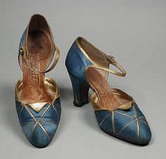 André Perugia blue and gold shoes, 1922