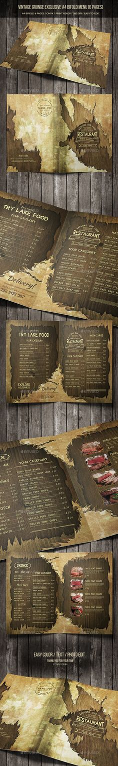 Vintage Grunge Exclusive A4 Bifold Menu (6 pgs) - Food Menus Print Templates