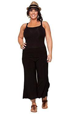 aede7d0b10 PB COUTURE Plus-Size Women s Fold-Over Waist Gaucho Pants 2X (18 20) Black