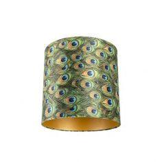 Velor lampshade peacock design with golden interior Astro Lighting, Outdoor Wall Lighting, Red Wing, Pendant Lamp, Pendant Lighting, Interiors Online, Peacock Design, Garden Shop, Feather Print