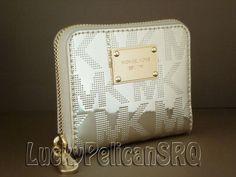 Michael Kors MK Signature Mirror Metallic PVC Zip Around Bifold Wallet Pale Gold #MichaelKors #Bifold