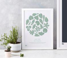 Wall Art ideas: Economical Screen Prints, Leaf Types in Seafoam Green Framed Artwork, Framed Prints, Art Prints, Wall Art, Sea Foam, Free Gifts, Countryside, Giclee Print, Screen Printing