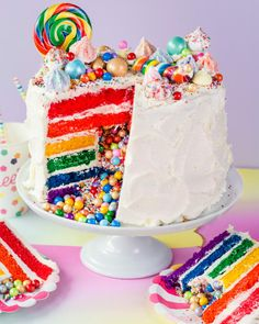 How To Make the Ultimate Rainbow Surprise Cake - How To Make a Rainbow Layer Cake with a Candy Surprise Inside Candy Birthday Cakes, Candy Cakes, Birthday Parties, Food Cakes, Cupcakes, Cupcake Cakes, Bolo Pinata, Piniata Cake, Rainbow Layer Cakes