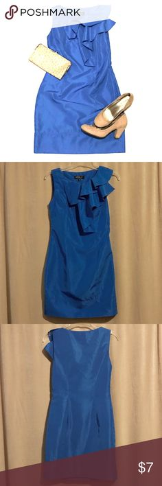"""💙Cerulean Cocktail Dress 💫A*B*S Size 4  💫sleeveless shift style cocktail dress 💫100% polyester 💫""""taffeta look"""" 💫ruffle detail at bust 💫unlined 💫side zipper  The blue shade of this dress is to die for! This dress has timeless styling. The only flaw a triangular shaped cut in one of the ruffles (as pictured). You could attempt to patch it or possibly have a seamstress repair it. I just ironed the ruffles so it wouldn't be noticeable. This gorgeous dress is priced to compensate for the…"""