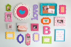 cute photo frames on the wall